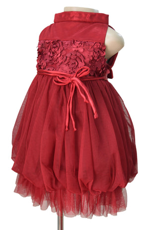 Faye Maroon Rosette Party Dress