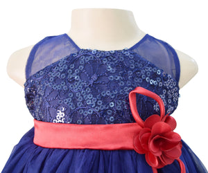 Faye Blue Embroidered Party Dress