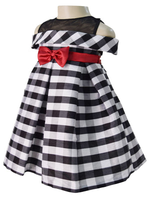 Black & White Off Shoulder Dress for Kids
