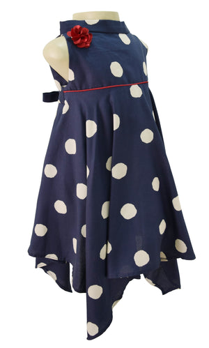 Girls Dresses_Faye Dark Saphire Polka Dress
