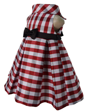 Kids Dresses_Faye Red Check Cowl Neck Dress