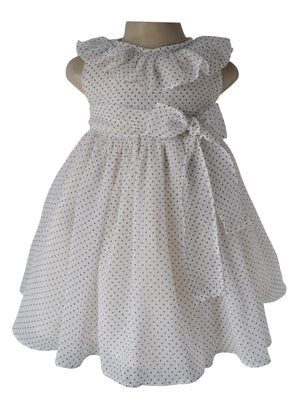 Baby Girl Dress_Faye Cream Polka Ruffled Dress