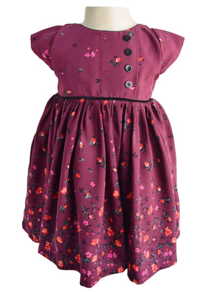 Baby girl Dresses_Faye Maroon Floral Dress