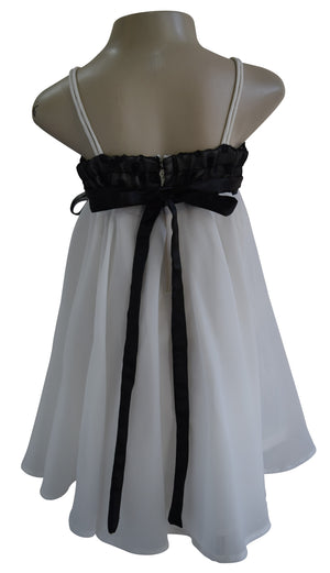 Kids Wear_Faye Black & Ivory Georgette Dress