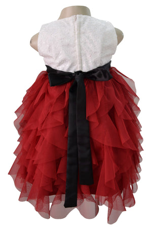 Faye Maroon Waterfall Kids Party Dress