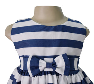 Faye Blue Striped Poplin Dress