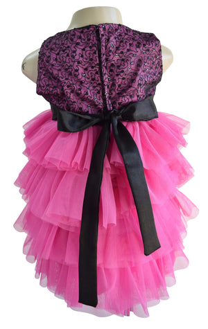 Baby Dress_Faye Pink & Black Tiered Dress