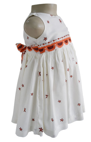 Kids Dress_Faye Orange Star Print Dress