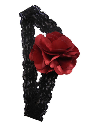 Maroon flower on Black Lace Hair Band for Kids