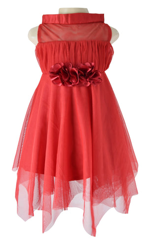 Kids Party Dress_Faye Maroon High Neck Dress
