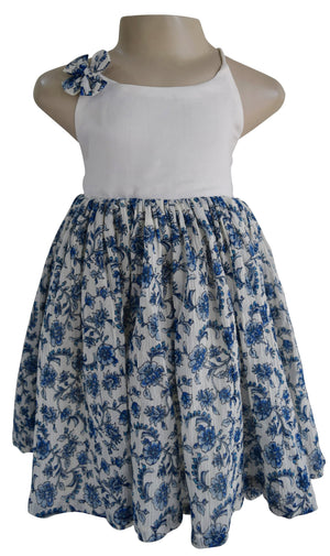 Kids Frocks_Faye Crushed Blue Floral  Dress