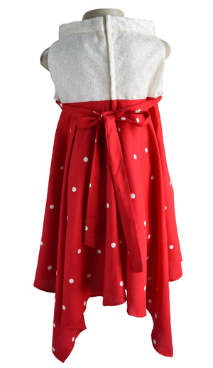 Faye Red & Cream Polka Dress