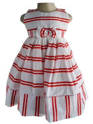 Faye Red & Cream Striped Dress
