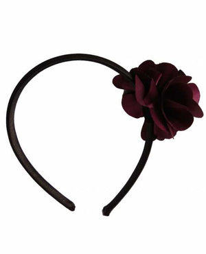 Plum flower on Black Satin Hair Band for Kids