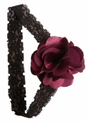 Plum flower on Black Lace Hair Band for Kids