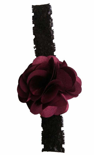 Plum flower on Black Lace hair bands for girls