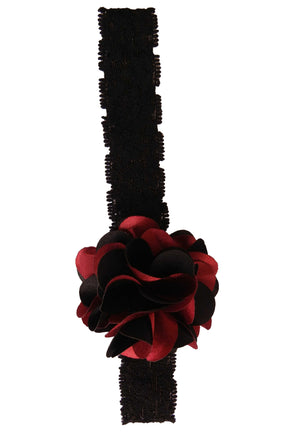 Black & Maroon flower on Black Lace hair bands for girls