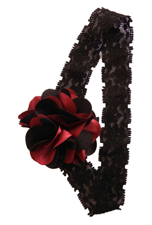 Black & Maroon flower on Black Lace Hair Band for Kids