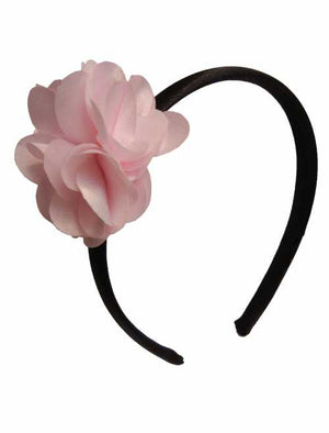 Pink flower on Black satin hair bands for girls