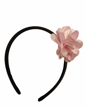 Pink flower on Black satin Hair Band for Kids