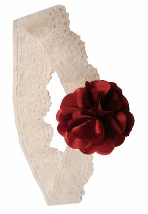 Maroon flower on Ivory Lace hair bands for girls