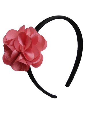 Onpink flower on Black Satin hair bands for girls