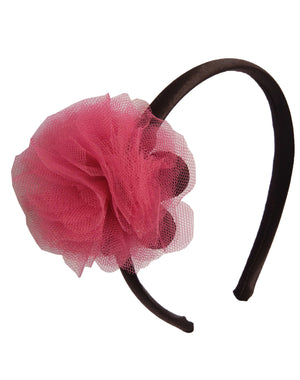 Onpink Net flower on Black Satin Hair Band for Kids
