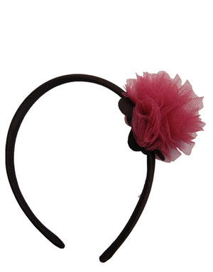 Onpink Net flower on Black Satin hair bands for girls
