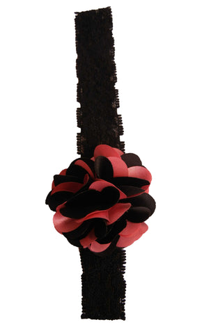 Onpink & Blk flower on Black Lace Hair Band for Kids