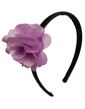 Lilac flower on Black satin hair bands for girls