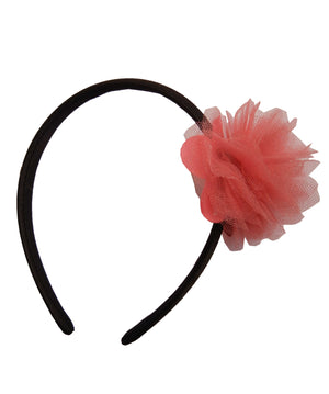 Coral Net flower on Black Satin hair bands for girls