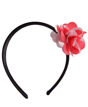 Onpink&pink flower on Blk Stn Hair Band for Kids