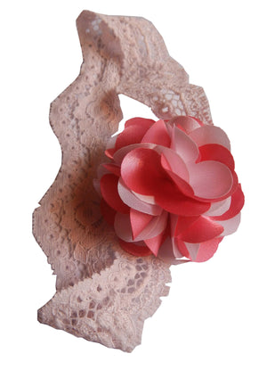 Onpink&pink flower on Pink Lace Hair Band for Kids