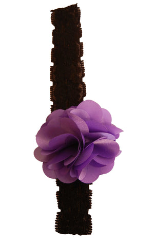 Purple flower on Blk Lace Hair Band for Kids