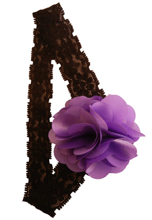 Purple flower on Blk Lace hair bands for girls