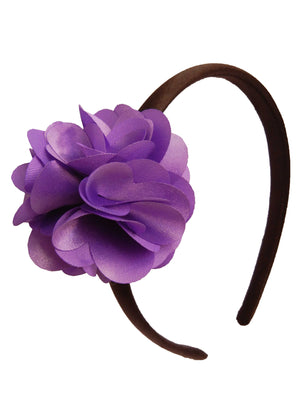 Purple flower on Blk Satin hair bands for girls