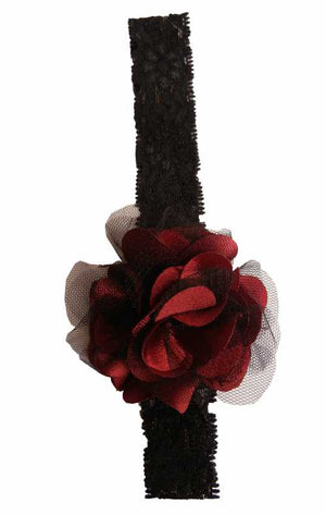 Maroon & BlackNet flower on Black Lace hair bands for girls
