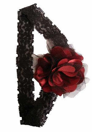 Maroon & BlackNet flower on Black Lace Hair Band for Kids