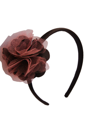 Black & Onpink Net flower on Blk Satin Hair Band for Kids