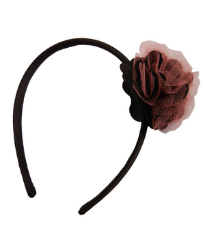 Black & Onpink Net flower on Blk Satin hair bands for girls