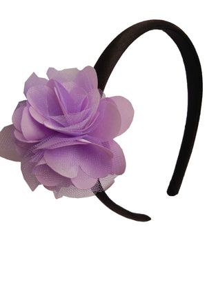 Lilac s&n flower on Blk Satin hair bands for girls