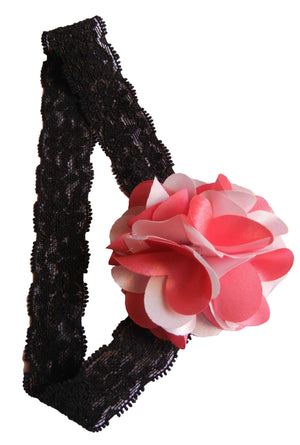 Onpink&pink flower on Blk Lace Hair Band for Kids