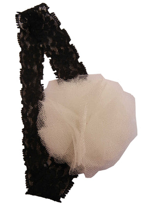 Ivory Net flower on Black Lace Hair Band for Kids