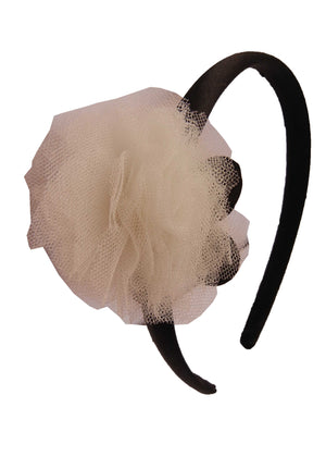 Ivory Net flower on Black Satin hair bands for girls