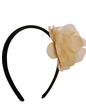 Gold s&n flower on Black Satin hair bands for girls