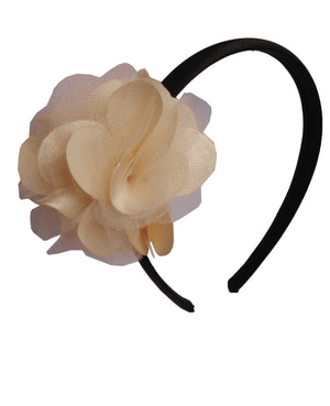 Gold s&n flower on Black Satin Hair Band for Kids
