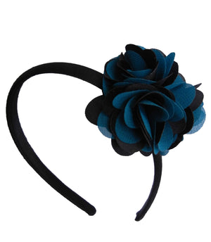 Green & Blk flwr on Blk Satin Hair Band for Kids