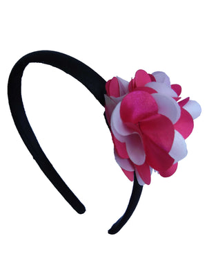 Fuchsia & Pink flwr on Blk Satin Hair Band for Kids