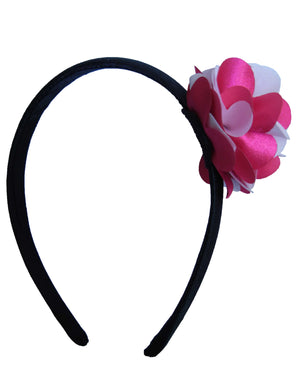 Fuchsia & Pink flwr on Blk Satin hair bands for girls