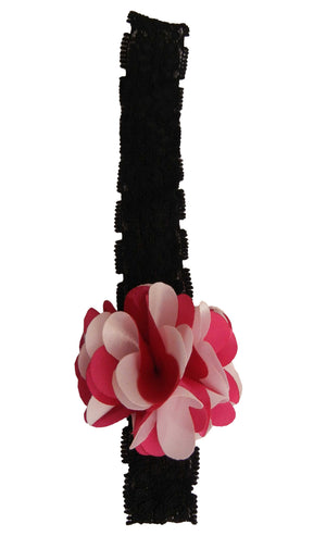 Fuchsia & Pink flwr on Blk Lace hair bands for girls